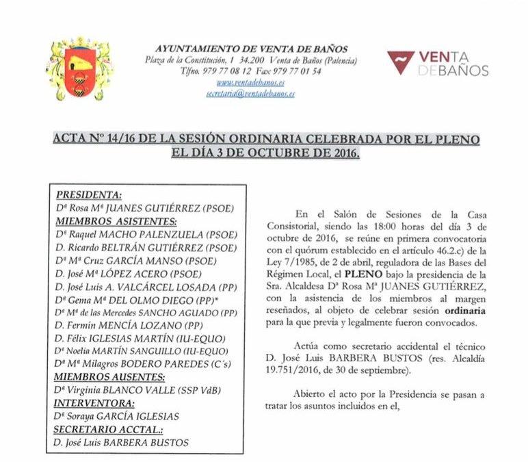 Acta del pleno del 3 de octubre de 2016