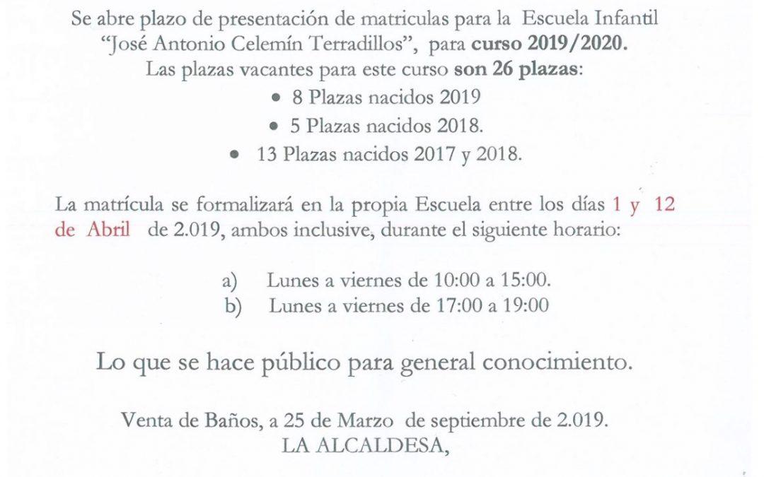 ABIERTO EL PLAZO DE MATRICULA ESCUELA INFANTIL JOSE ANTONIO CELEMIN TERRADILLOS.