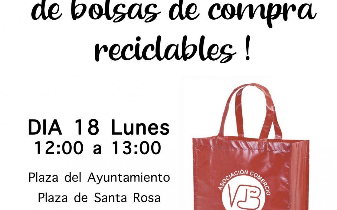Reparto gratuito de bolsas de compra reciclables Asociación Comercio VDB 18 NOVIEMBRE 2019
